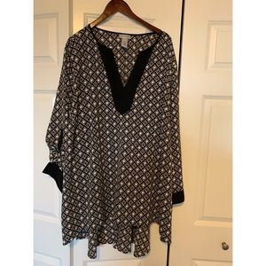 NWOT, Catherine's, Black and White Tunic, Size 4x
